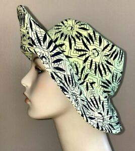 Nanette Lepore Bucket Hat XS Green Black Sun NWT $98 Floral Graphic Print