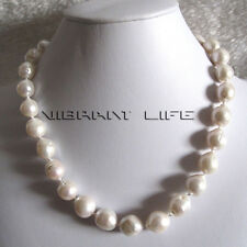 "18"" 12-14mm Kasumi AA Baroque White Freshwater Pearl Necklace UE"