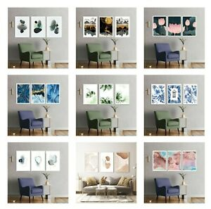 Set of 3 Abstract Wall Art Prints Living Room Bedroom Marble Effect Posters A3