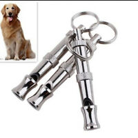 2x Dog Puppy Adjustable Whistle Ultrasonic Sound Key Chain Training Practical FT