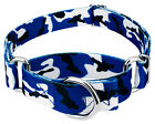 Country Brook Petz® Royal Blue and White Camo Martingale Dog Collar