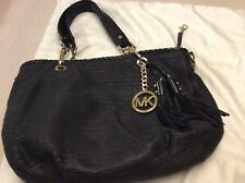 Michael Kors Black Neutral Straw /Leather Shoulder Bag