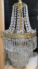 Antique French Empire Brass Crystal Wedding Cake Basket Chandelier Victorian Gas
