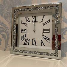 35cm Crushed Mirror Jewel wall clock roman numbers diamante mirror glass clock