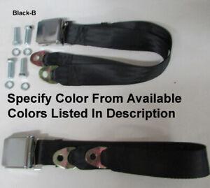 "Retro 2 Point Seat Belt Lap Seatbelt Set + Mounting Kit - Specify Color - 74"""