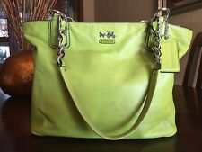 Coach Lime Green Pebble Leather Shoulder Bag Duffle Purse w Chunky Chain Strap