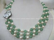 3rows  white freshwater pearl and green round jade necklace wholesale nature git