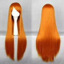 Eva Neon Genesis Evangelion Asuka Langley Soryu 80cm Long Orange Red Hair Wig
