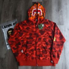 FW18 Bape Red Color Camo Tiger Hoodie Size XXL