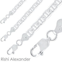 Real Sterling Silver Mens Diamond Cut Mariner Chain Necklace Stamped 925 Italy