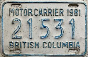 1981 British Columbia Canada Motor Carrier Canadian License Licence Plate 21531