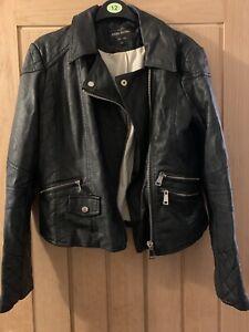 River Island Black Faux Leather Biker Jacket Size 12