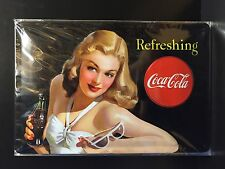 Coca Cola Refreshing Retro Pin Up Embossed Metal Sign Wall Decor 20x30 Cm