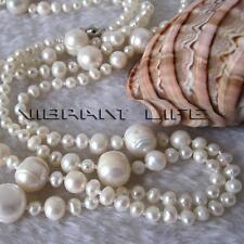 "52"" 4-12mm White Graduated Freshwater Pearl Strand Necklace Cultured"
