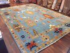 "Genuine Hand Knotted Blue Oushak Heriz Geometric Area Rug Carpet 10'1""x13'10,41"
