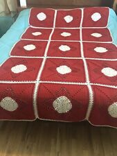 Handcrafted 4 Point Red-Orange & White Star Crochet Afghan Blanket 98�x 59� Quee