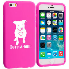 For iPhone 4 4s 5 5s 5c 6 6s Silicone Soft Rubber Case Love-a-bull Pitbull Love