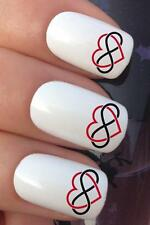 WATER NAIL RED LOVE HEART BLACK INFINITY LOGO TRANSFERS DECALS STICKERS *685