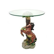 OK LIGHTING OK-0724N Horse End Table With Glass Top Multicolor NEW