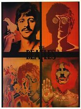 VINTAGE POSTER~Beatles Psychedelic 4 Faces 1960's John Lennon Ringo Paul George~