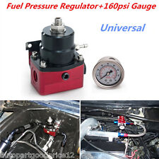Universal Metal Adjustable Fuel Pressure Regulator+160psi Gauge AN 6 Fitting End