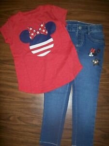 Little Girls Disney MINNIE MOUSE Shirt & Jeans - Size 5 - New NWT - MSRP $48