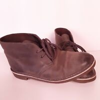 Clarks Brown Grayish Leather Chukka Ankle Boots Mens Size 9