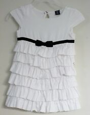 babyGAP Size 18-24 Months White with Bow Short Sleeve Multi Ruffles Dress