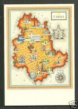 Map postcard Umbria Italy Italia 50s