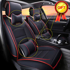 5-Seats Auto Car Seat Covers Deluxe PU Leather Front Rear Cushion Pad w/ Pillows