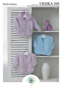 """UKHKA 106 Baby Cardigans. Hooded, Round & V Neck in DK 12-20"""" Knitting Pattern"""