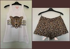 LIPSY LADIES WHITE LEOPARD 'FIERCE & FABULOUS DESIGN VEST SHORTS PYJAMAS UK 8-14