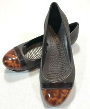 Crocs Womens Size 7 Brown Tortoise Shell Toes Casual Flats Slip On Shoes 15507