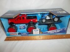 BUDDY L MONSTER WHEEL TOW TEAM STEEL RED FORD TRUCK W/ BLUE ATV & TRAILER