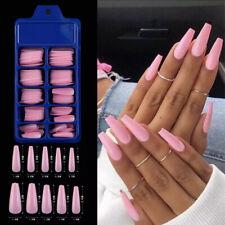 100Pcs Long Pink Fake Nails Candy Colors Natural Coffin Press on False Nail