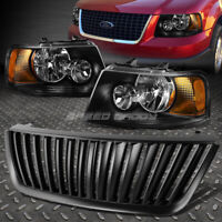 BLACK HOUSING HEADLIGHT+AMBER CORNER LIGHT+GRILL GUARD FOR 03-06 FORD EXPEDITION