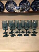"6 Water & 5 Wine Goblets, Lenox Crystal, BLUE MIST 6 1/4"" EUC Stemware Signed"