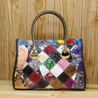 Multi-Color Genuine Leather Croco Stitch Women Satchel Handbag Tote Shoulder Bag