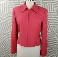 Carlisle Blazer Jacket Size 8 100% Silk Bright Pink Lined Snip Up Tweed career