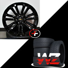"22"" CK156 Style Gloss Black Rims W Tires GMC Style fits Chevy Yukon Sierra"