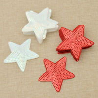 10Pcs Star Sequin Patch Cloth Decoration Embroidery Sew On DIY Red White Craft