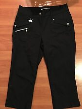 Golf Capri Pant Daily Sports Sz 2 Waterproof Nylon Spandex Zip Pockets Stretch