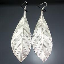 Vintage silver big texturé feuille plume ZUNI Navajo Dangle Boucles d'oreilles BOHO Cadeau
