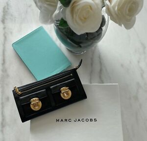 Marc Jacobs Authentic New Black Leather Wallet w/ Gold Buckles ELEGANT!