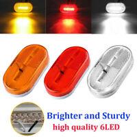 4/10x 6-LED Front Side Marker Tail Lights Truck Trailer Indicators 12V Red Amber
