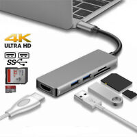 USB C Hub, Type C to HDMI 4K Adapter with 2 x USB 3.0 Ports SD/TF Card Reader