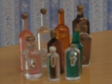 Ten Small Mixed Bottles Doll House Miniatures, Kitchen Dining Pub Accessory