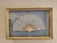 Antique Victorian painted Celluloid French Lace Hand Fan in Gilded Frame Box