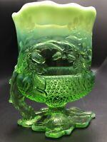 Mosser Acorn & Leaf Pattern Footed Glass Spooner Opalescent Green