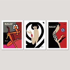 3 x BALLY Framed / Unframed OFFICIALLY LICENCED Villemot Vintage Poster Prints 2
